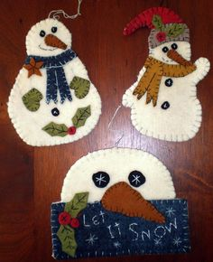 SNOWMEN  TRIO Penny Rug E Pattern INSTANT DOWNLOAD