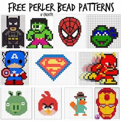 Free Perler Bead Patterns for Kids! (For kids? Heck, I'm breaking out the perler beads myself tomorrow! Perler Bead Designs, Hama Beads Design, Pearler Bead Patterns, Perler Bead Art, Perler Patterns, Pearler Beads, Fuse Beads, Disney Hama Beads Pattern, Seed Beads