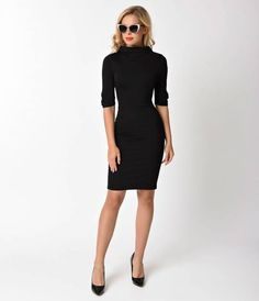 Cassidy is ruthlessly radiant, ladies! This marvelous black pencil dress is a sultry silhouette for the elegant dame. The Cassidy Wiggle Dress from Unique Vintage is cast in a soft and sturdy stretch knit to curl around your favorite curves in stylish swa