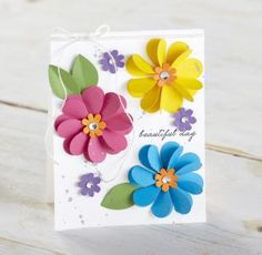 Create unique gifts, custom cards and fun decorations with Fun Stampers. Discover new ideas for your do-it-yourself paper arts projects. Flower Birthday Cards, Flower Cards, Handmade Greetings, Greeting Cards Handmade, Paper Cards, Diy Cards, Paper Art Projects, Paper Flowers Craft, Butterfly Crafts