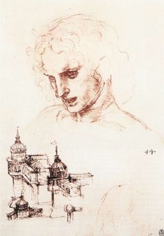 Study of an apostle's head and architectural study, 1496 - Леонардо да Винчи