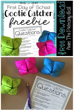 Looking for a fun First Day of School Activity? Try this FREEBIE Cootie Catcher! After partners get to know one another, they can take a quiz to see if they remember all of the facts shared!