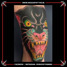 Traditional panther tattoo on the upper leg. Designed and Tattooed by: Vincent Penning Dragon Tattoo. Traditional Panther Tattoo, Traditional Tattoo, Tattoo Portfolio, Dragon, Legs, Tattoos, Design, Tattoo Traditional, Tatuajes