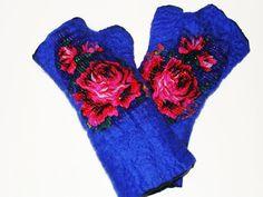 Felted  Mittens . Felt Fingerless gloves . Bright by NataliyaMalik, $34.99