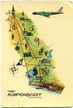 Road Trip ... Aeroflot route map postcard