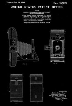 Mythbusters blueprint magnets set to buy pinterest magnets 1948 polaroid corporation photographic camera w d teague patent art poster malvernweather Gallery