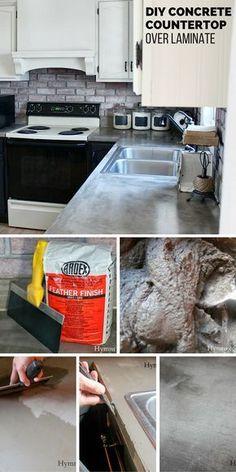 Check out the tutorial: DIY Concrete Countertop #DIY #homedecor