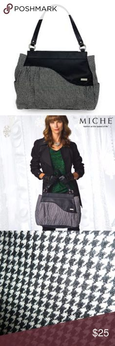 Miche Neisha Prima Shell Neisha for Prima Bags just might be your new favorite cold weather Shell! Classic houndstooth fabric in a miniature pattern is flecked with the tiniest hints of silver - giving it a little touch of surprising sparkle, with black faux leather wave detail across the top. Miche Bags Shoulder Bags