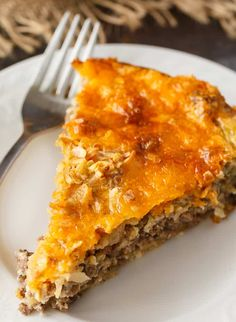 Impossible Cheeseburger Pie - Super easy and delicious! This yummy recipe is full of cheesy beefy flavor that everyone loves. Super easy and delicious! This yummy recipe is full of cheesy beefy flavor that everyone loves. Easy Meat Pie Recipe, Easy Cheeseburger Pie Recipe, Easy Casserole Recipes, Cheeseburger Casserole, Bisquick Recipes, Amish Recipes, Pie Recipes, Cooking Recipes, Recipies