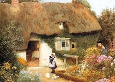 Arthur Claude Strachan (Scottish, Girl and Kitten before Cottage Storybook Cottage, Old Cottage, Cottage Art, Cottage Gardens, Paintings I Love, Oil Paintings, Beach Landscape, Figure Painting, Garden Art