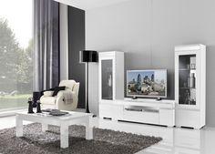 Complete woonkamer hoogglans wit/rvs model Ketty