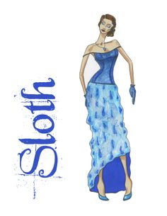 The Sloth fashion illustration by Kelsey Lovelle, fashion designer. From the Seven Deadly Sins collection.