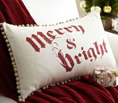 Merry & Bright Throw Pillow #potterybarn #chas #swf2012 #LASchs #holiday
