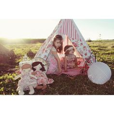 Girly teepee & fabric doll idea to make for Tay's bday gift/party Teepee Kids, Teepee Tent, Tents, Kids Outdoor Play Equipment, Kid Spaces, Play Houses, Craft Fairs, Kids Playing, Playroom
