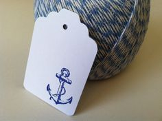 Blue Hand Stamped Anchor Tag.  Set of 10 by PaperTrailbyLauraB, $8.00
