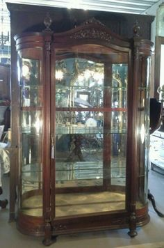 antique mahogany oversized horner school china cabinet
