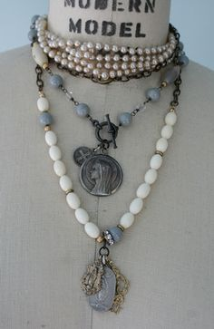 The Madre Necklace . Agate & Vintage Beads . Antiquities . Tippy Stockton