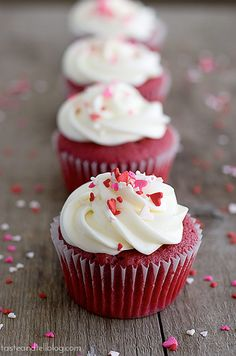 Perfect traditional red velvet cupcakes, topped with marshmallow cream cheese frosting.