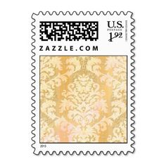 Damask Cut Velvet, ANTIQUE LACE in YELLOW Postage Stamps