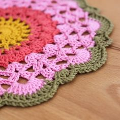 Spring Pink Flower Doily - from girlybunches (folksy)