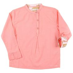 Pop Peach Mandarin Collar Tunic with Asymmetrical Placket by Marin + Morgan
