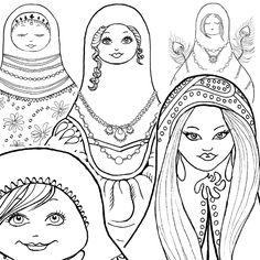 matryoshka doll russian doll coloring book pages