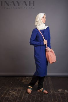 Royal Blue Shirt Dress Modest with the perfect length coverage. www.inayahcollection.com