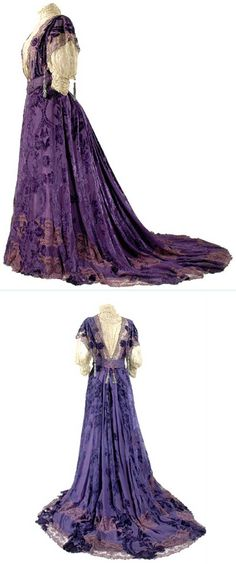 Worth, Deep Iris Coupe des Velours Silk Chiffon Gown, ca. So elegant! And to think that as manufacturing has gotten easier the dresses are plainer. Edwardian Era Fashion, 1900s Fashion, Edwardian Dress, Vintage Fashion, Edwardian Costumes, Robes Vintage, Vintage Dresses, Vintage Outfits, Moda Vintage