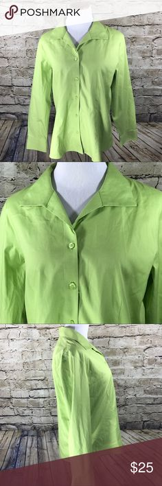 "Chico's Size 2 (12) Lime Green Button Down Top Chico's Size 2 (12) Lime Green No-Iron Button Down Career Shirt  This item is gently used with no flaws. — see pictures for details Waist - 21.5"" Length from back of neck to Bottom - 27"" Sleeve Length - 24"" Made in Thailand Material is 100% Cotton  Inventory - E580 Chico's Tops Button Down Shirts"
