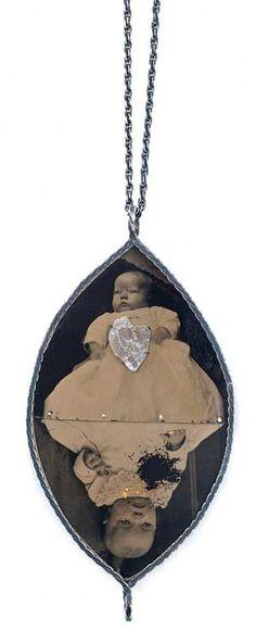 -Bettina Speckner- Alice in Wonderland Pendant, 2009 Ferrotype, Diamond, Silver, Leaf, Resin 10 X 5.5 cm