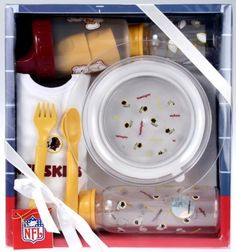"""Washington Redskins NFL Football Newborn Baby Necessities Gift Set by NFL. $12.99. This Newborn Baby NFL Fan Necessities Gift Set consists of: 8 oz plastic bottle with silicone nipple, 4 oz plastic bottle with silicone nipple, 8 oz plastic """"no-spill"""" cup, cotton team logo bib, 7 inch clear plastic bowl with no-slip rubber bottom, toddler plastic spoon and fork in team color. This set is conveniently packed, ribbon wrapped and includes NFL """"From: To:"""" tag. Save 68%!"""
