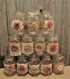 Bridal Shower Centerpieces Rustic Wedding Burlap Lace Mason Jars Wedding Centerpieces No Jars Mason Jar Wedding Lace Mason Jars, Rustic Mason Jars, Mason Jar Crafts, Mason Jar Diy, Bottle Crafts, Mason Jar Burlap, Mason Jar Favors, Wedding Centerpieces Mason Jars, Centerpiece Ideas
