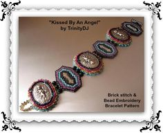 """New pattern """"Kissed by An Angel"""" listed in my Etsy Shop - brick or peyote stitch and bead embroidery bracelet with lots of step by step instructions and photo's. Please follow this link for more info: https://www.etsy.com/listing/163833561/bp-br-050-kissed-by-an-angel-bead-woven"""