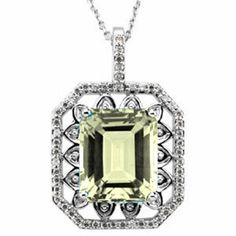 Platinum Emerald Cut Lemon Quartz and Diamond Pendant Gems-is-Me. $2370.48. FREE PRIORITY SHIPPING. This item will be gift wrapped in a beautiful gift bag. In addition, a 'gift message' can be added.. Save 40% Off!