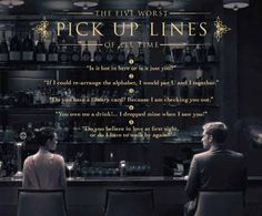 """""""5 Worst Pick-Up Lines of All Time"""" - gorgeous print ad for No.5 Lounge  Bar at The Ritz-Carlton, Dubai Int'l Financial Centre, by Made by Arcade."""