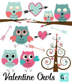 Valentine owls clip art set includes 5 different owls, Valentine tree, Valentine branch, hearts and arrows. I used vintage colors of cream, pink, orange and aqua.This clip art set is excellent for invitations, announcements, cards, stationery, tags, scrapbooking, posters, crafts and teacher products for Valentine's Day and all year round!You will receive 16 elements in one zip file:3 Owls with open eyes (7.5 inches high)2 Owls with sleepy eyes (the same owls that are sitting on the…