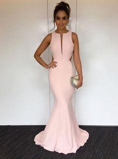 4cfa270ea Buy Mermaid Round Neck Sweep Train Open Back Pearl Pink Prom Dress