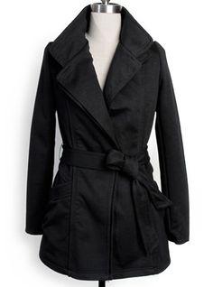 Black Lapel Long Sleeve Drawstring Waist Epaulet Trench Coat