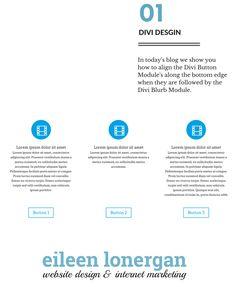 How to Make the Buttons Align with the Divi Blurb Module shared via Eileen Lonergan, Boston WordPress designer & Divi theme user.