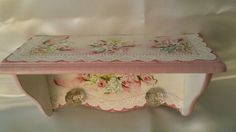 Hand Painted Wood Wall Shelf Cottage Chic Pink Roses Hydrangeas Shabby Lace HP