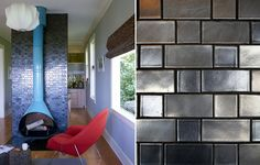 Fireplace using Gunmetal tile from the Tapestry collection - Heath Ceramics - in Flemish Bond pattern