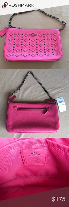 NWT COACH LEATHER BAG NWT Leather Coach Bag! Pink with flower details! Super cute bag that would make for a great present this holiday season! Never used! Retails for $225 Coach Bags