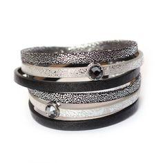 Crystal Swarovski leather bracelet, black and silver leather cuff bracelet, magnetic clasp bracelet, birthday gift for wife, vegan gift by KociokwikJewelry on Etsy