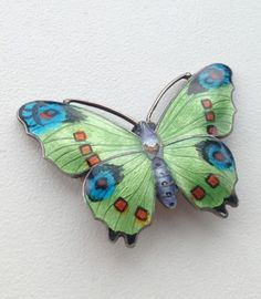 STERLING SILVER AND ENAMEL BUTTERFLY BROOCH JA&S JOHN ATKINS AND SON