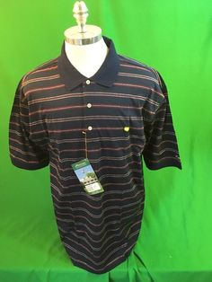 Masters Collection Golf Polo Shirt Men's Xl Blue Striped Cotton Flag Logo NWT #Masters #PoloRugby
