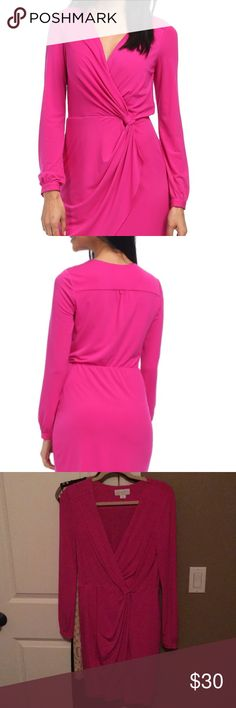Jessica Simpson wrap front dress in pink. Gorgeous long sleeve pink dress.  Wore maybe 2 times.  Excellent condition! Jessica Simpson Dresses Midi