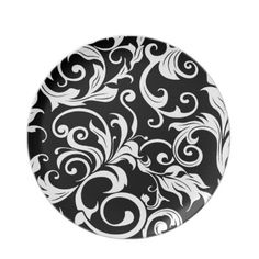 Black & White Damask Dinner Plates!