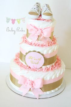 Pink and gold baby shower, Pink and gold diaper cake , blush pink , baby shower decorations , shower centerpiece by MsPerks on Etsy https://www.etsy.com/listing/208911633/pink-and-gold-baby-shower-pink-and-gold