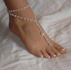 De mariage de plage paire de pieds nus sandales, ivoire, perles de cristal motif mariée bracelets bijoux pied