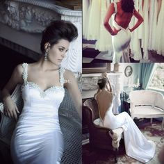 Wholesale Mermaid Wedding Dresses - Buy New Arrival 2014 Backless Wedding Dresses Sweetheart Beaded Straps Mermaid Court Train Pearls Fashion Bridal Gowns Berta Bridal Couture W279, $179.0   DHgate